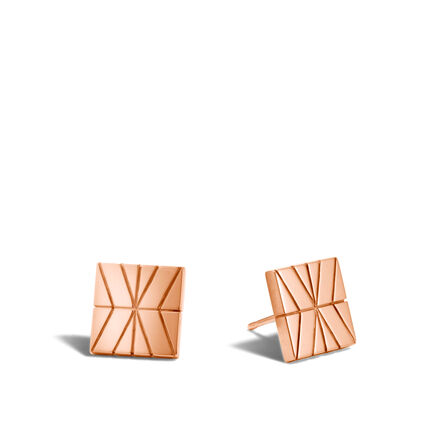 Modern Chain Stud Earring in Silver and 18K Rose Gold
