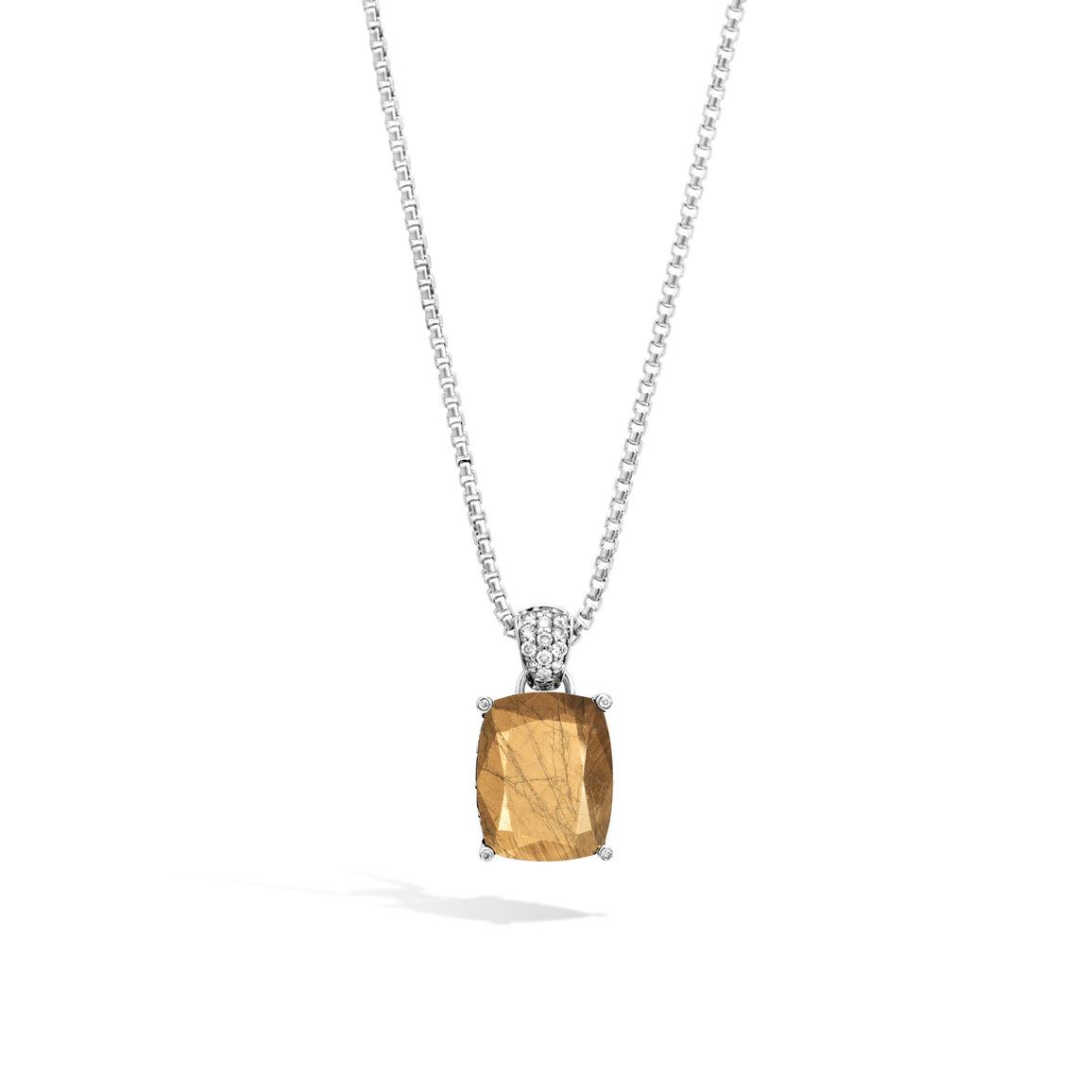 Classic Chain Magic Cut Pendant, Silver, Gemstone, Diamonds