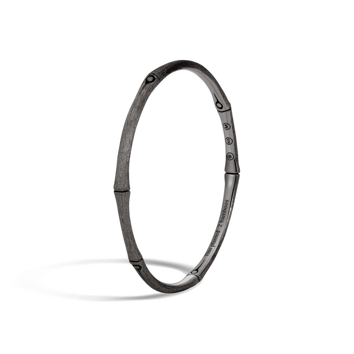 Bamboo 4MM Bangle in Blackened Brushed Silver