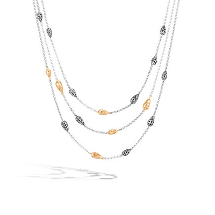Classic Chain Multi Row Necklace, Silver, Hammered 18K Gold