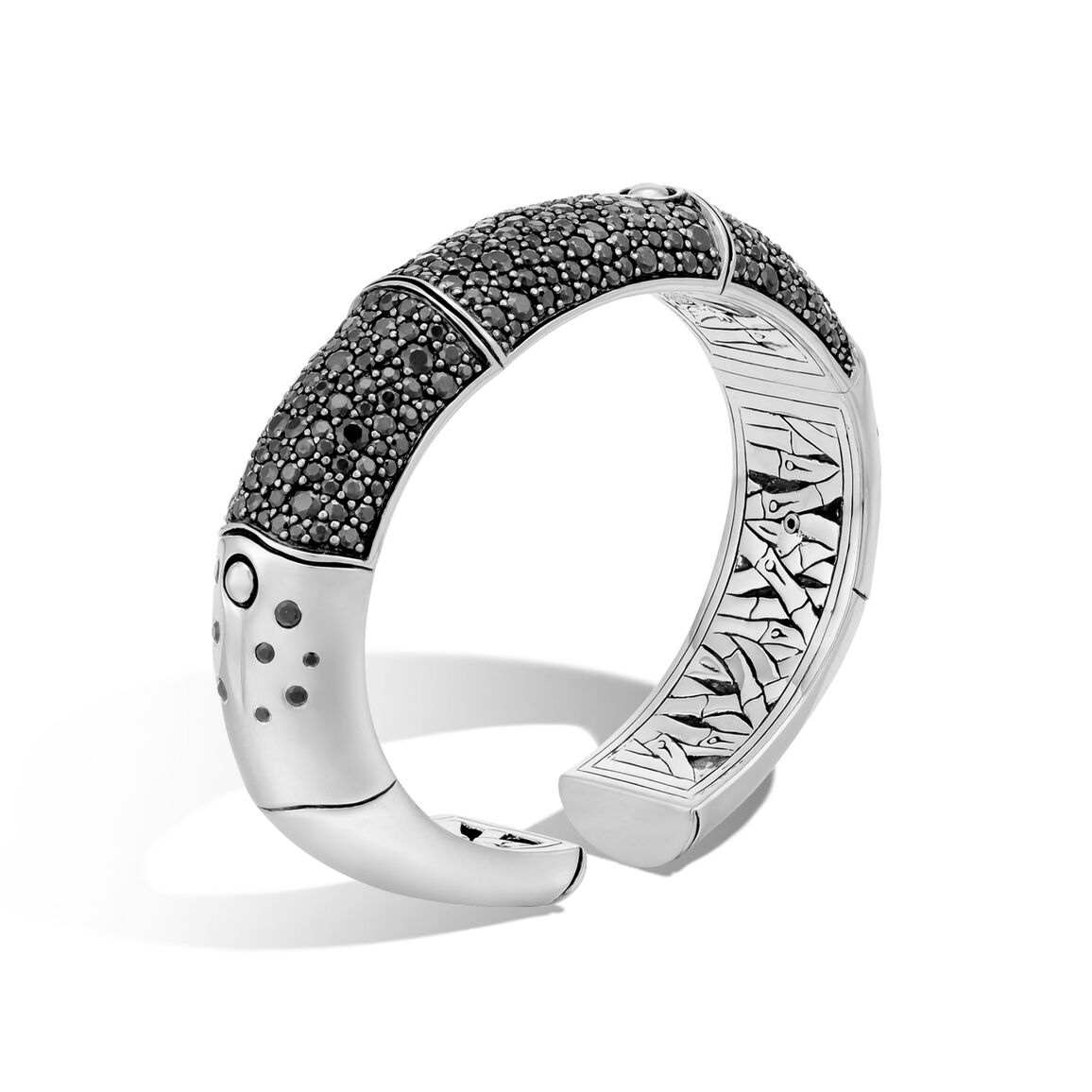 Bamboo 16MM Kick Cuff in Silver with Gemstone