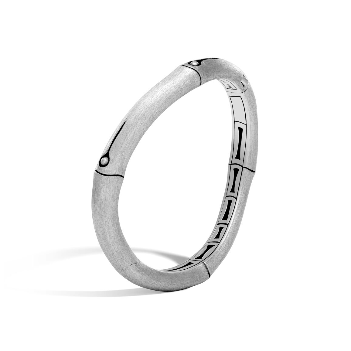 Bamboo 9MM Curved Hinged Bangle in Brushed Silver