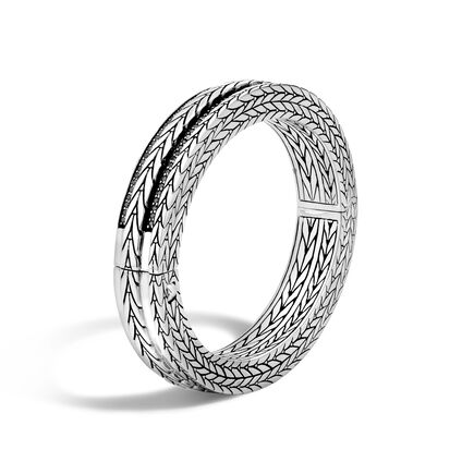 Modern Chain 11.5MM Hinged Bangle in Silver with Gemstone