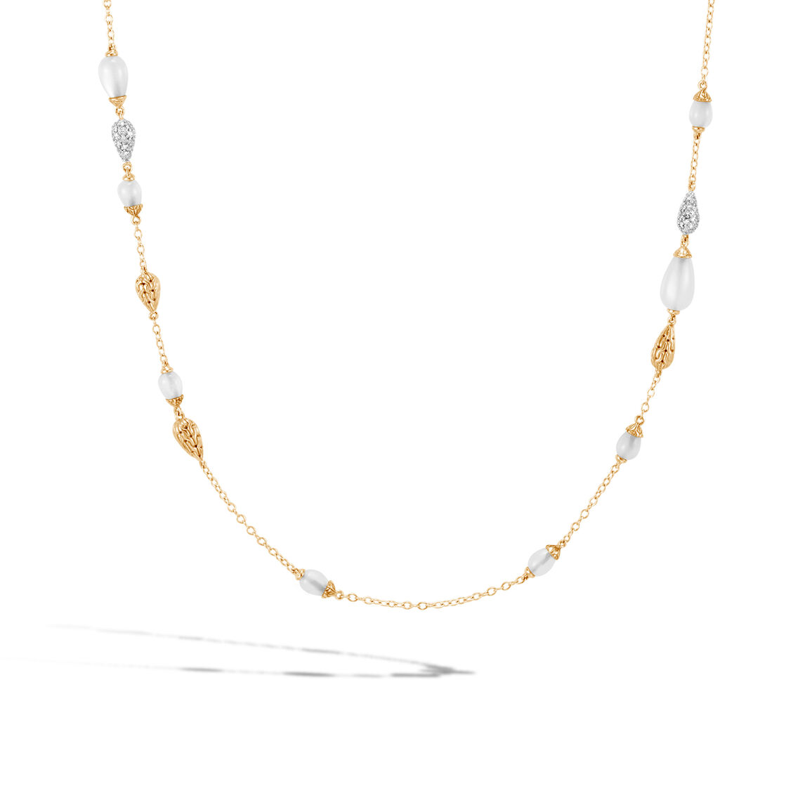 Classic Chain Station Necklace in 18K, Gemstones, Diamonds