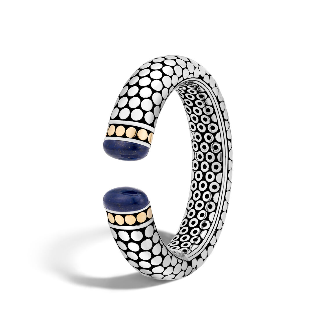 Dot 17.5MM Kick Cuff in Silver and 18K Gold with Gemstone