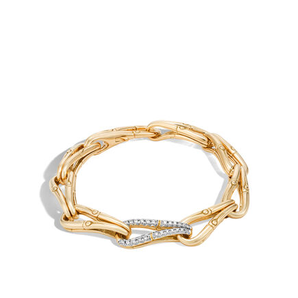 Bamboo 9.5MM Link Bracelet in 18K Gold with Diamonds