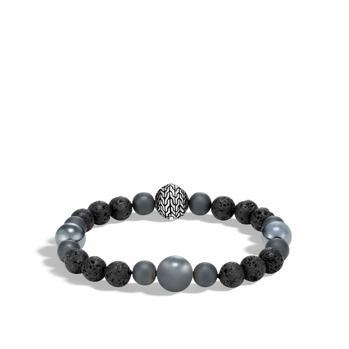 Classic Chain Bead Bracelet in Silver with Gemstone