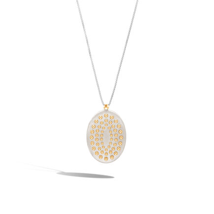 Dot Pendant Necklace in Brushed Silver and 18K Gold
