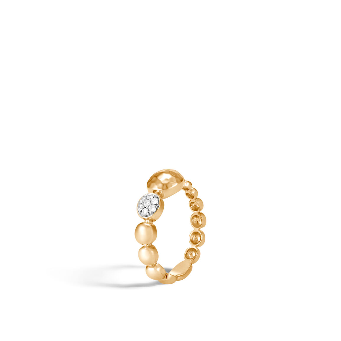 Dot Ring in Hammered 18K Gold with Diamonds