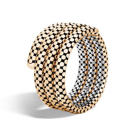 Dot Triple Coil Bracelet in Silver and 18K Gold