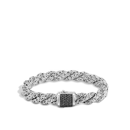 Twisted Chain 9MM Bracelet in Silver with Gemstone