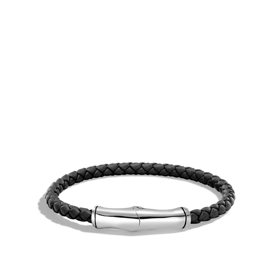 Bamboo 5MM Station Bracelet in Silver and Leather