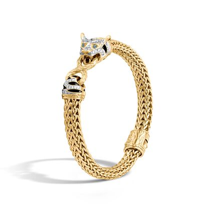 Legends Macan 7.5MM Station Bracelet, 18K Gold with Diamonds