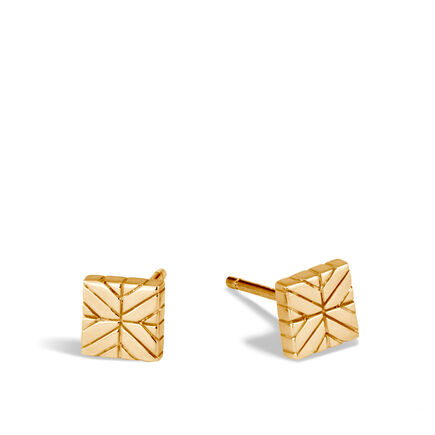 Modern Chain Stud Earring in 18K Gold