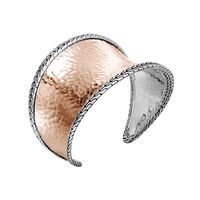 Classic Chain 42.5MM Cuff in Silver and Hammered 18K Rose Gold