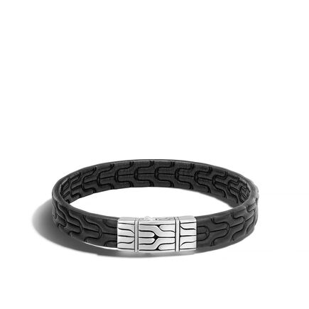 Classic Chain 10MM Station Bracelet in Silver and Leather