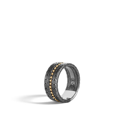 Chain Jawan 10MM Band Ring in Blackened Silver and 18K Gold