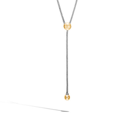 Classic Chain Drop Necklace in Silver and Hammered 18K Gold