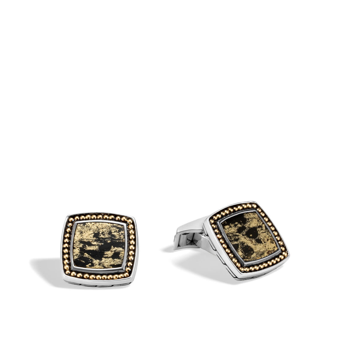 Chain Jawan Cufflinks in Silver and 18K Gold with Gemstone