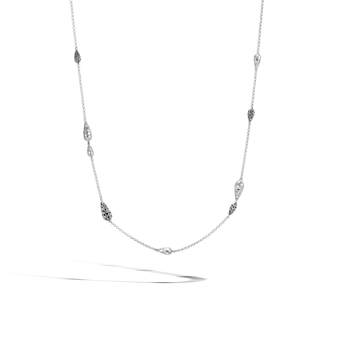 Classic Chain Station Necklace in Hammered Silver