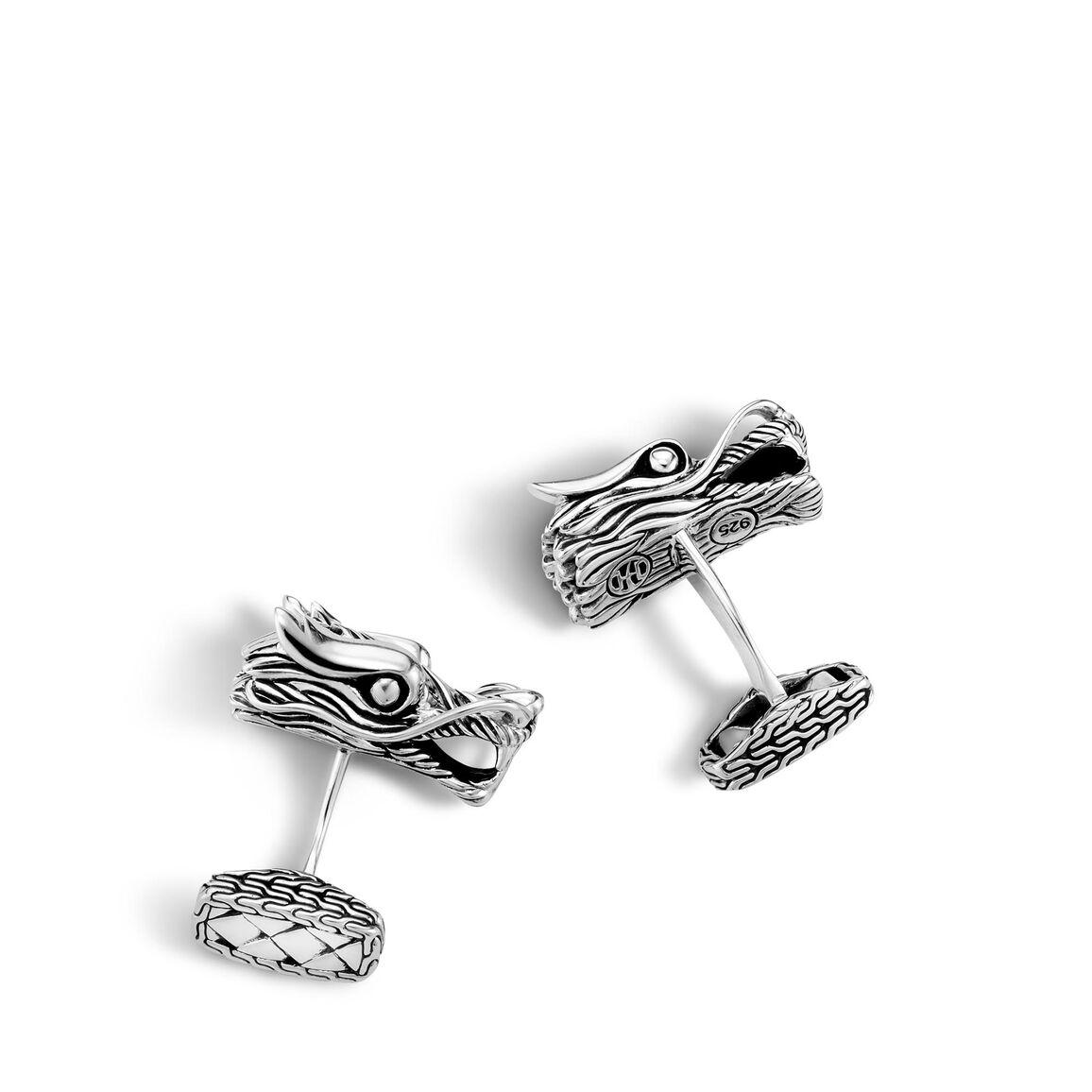 Legends Naga Head Cufflinks in Silver