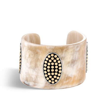 Dot 50MM Buffalo Horn Cuff in Silver and 18K Gold