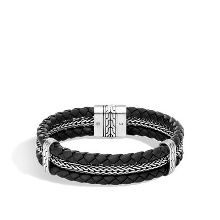 Classic Chain Triple Row Bracelet in Silver and Leather