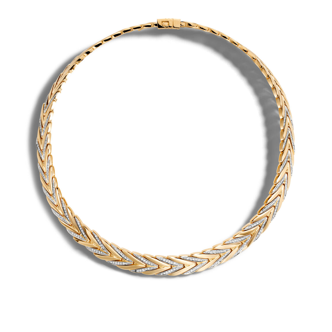 Modern Chain 11MM Necklace in 18K Gold with Diamonds