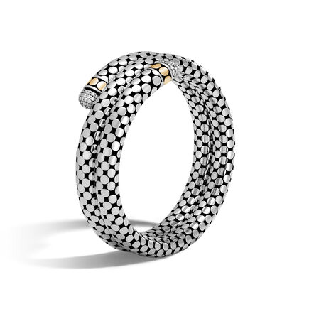 Dot Double Coil Bracelet in Silver, 18K Gold with Diamonds