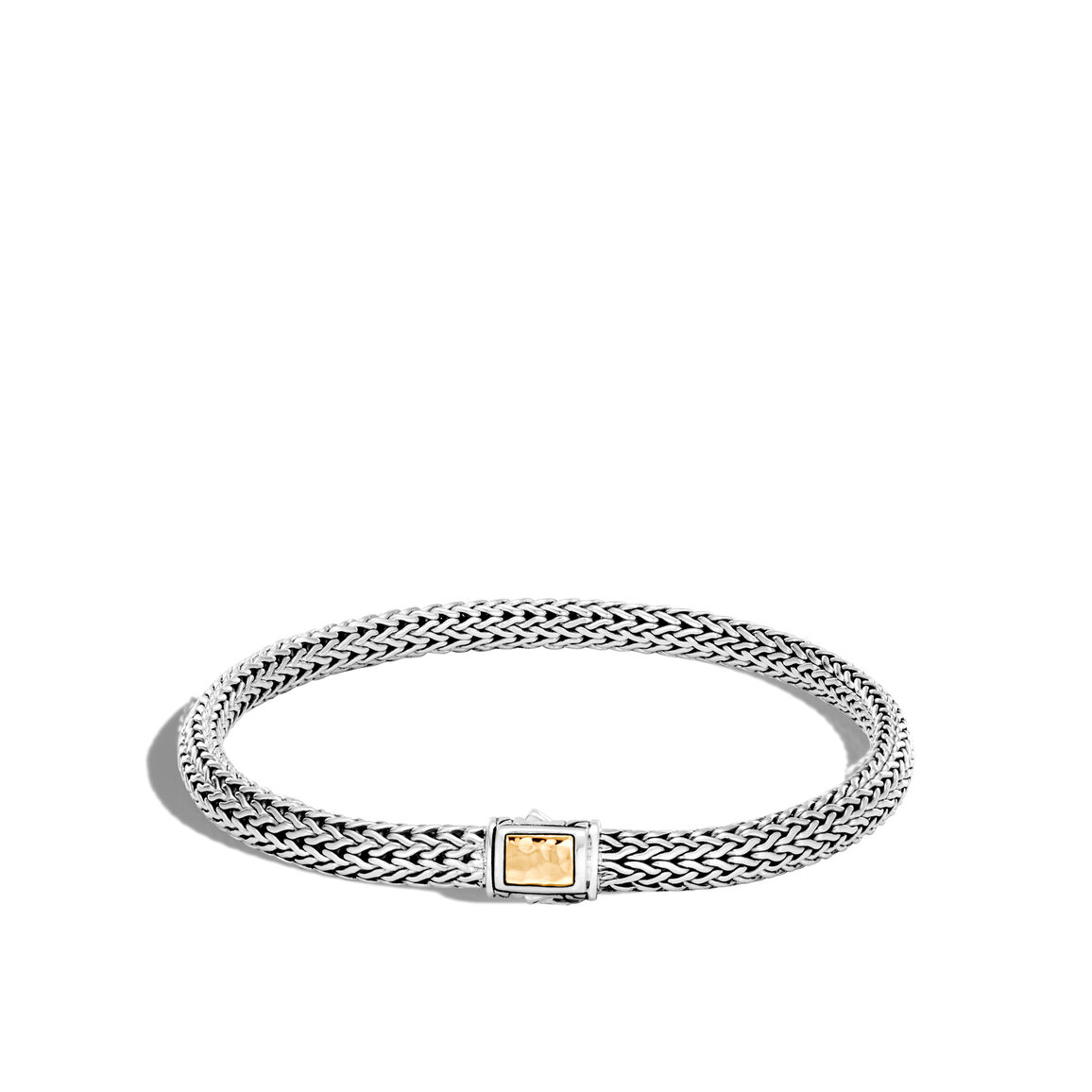 Classic Chain 5MM Hammered Clasp Bracelet, Silver, 18K Gold
