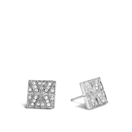 Modern Chain Stud Earring in Silver with Diamonds