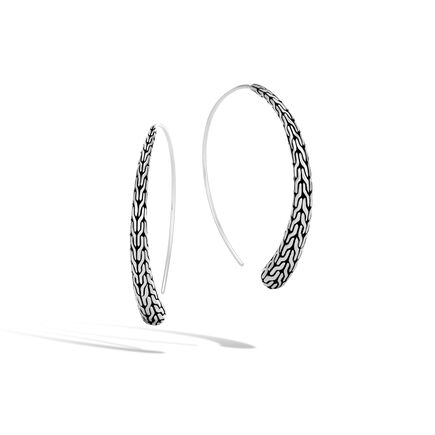 Clic Chain Large Hoop Earring In Silver