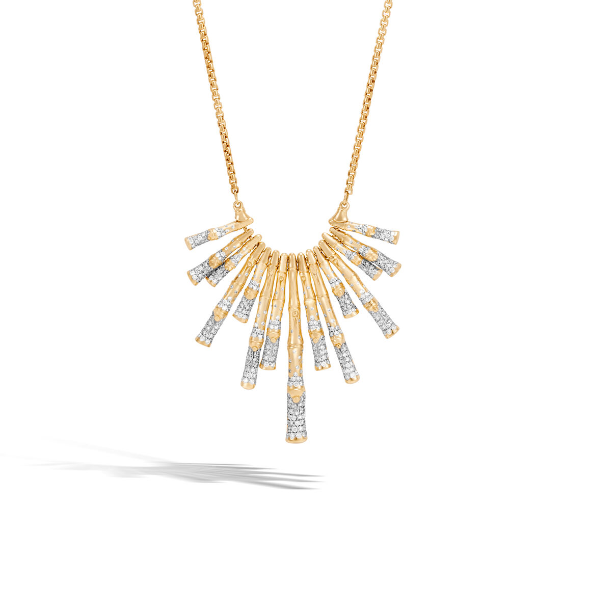 Bamboo Bib Necklace in 18K Gold with Diamonds
