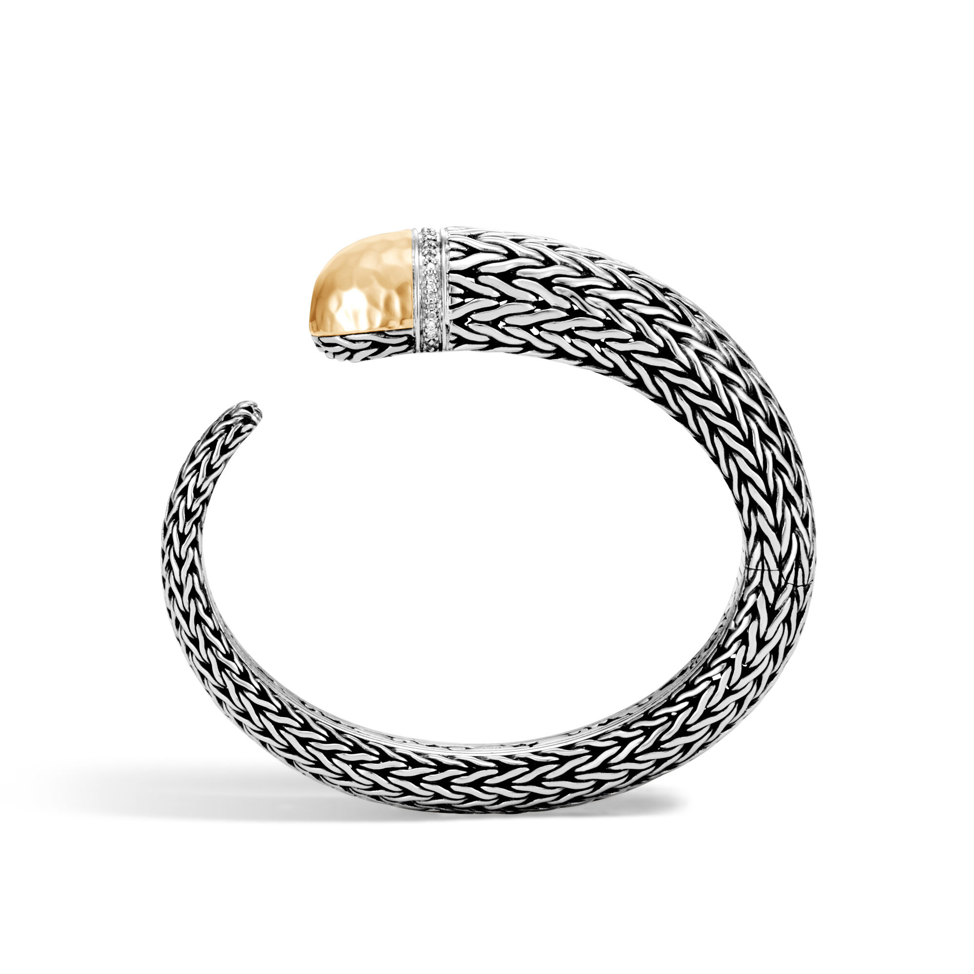 John Hardy Classic Chain Hammered Kick Cuff With Diamonds S White diamond vaYQC