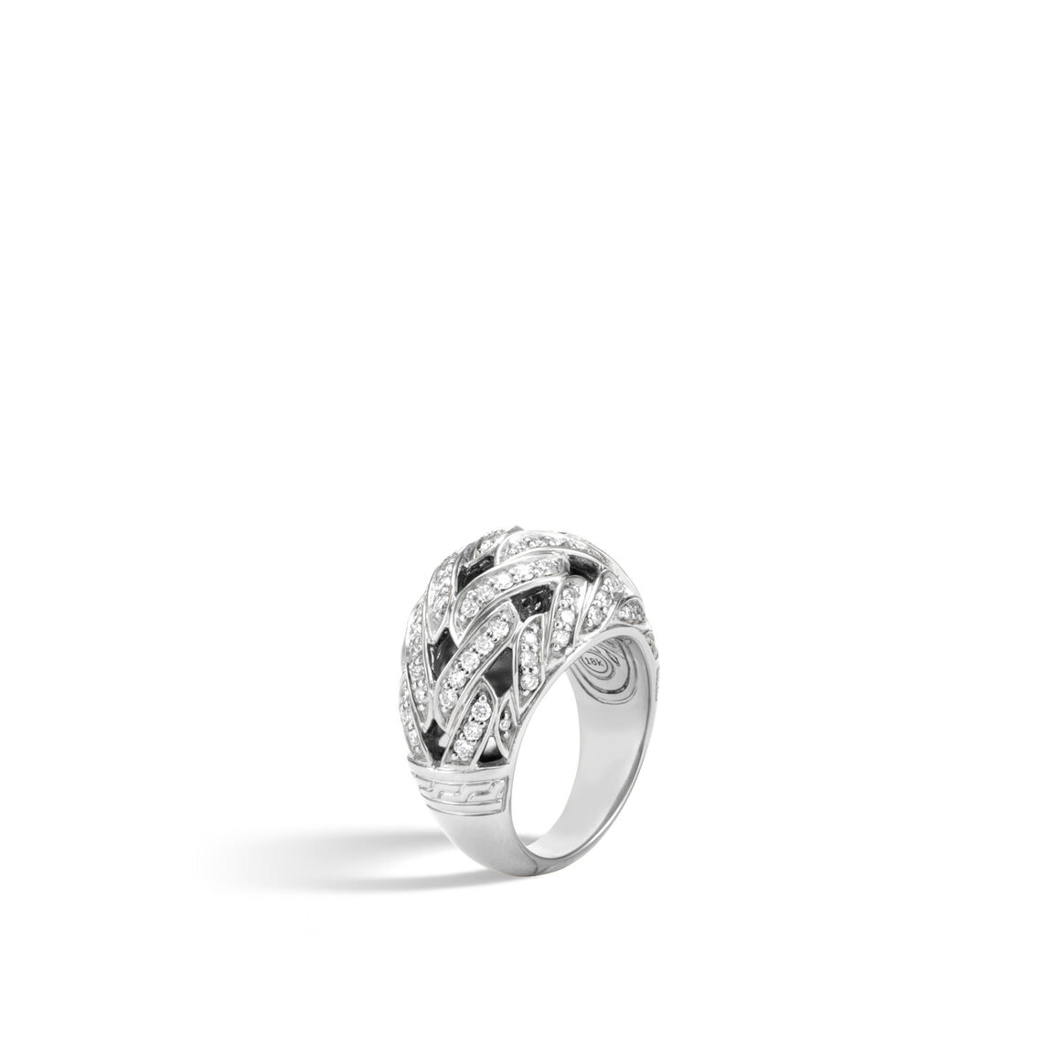 Classic Chain 15MM Dome Ring in Silver with Diamonds