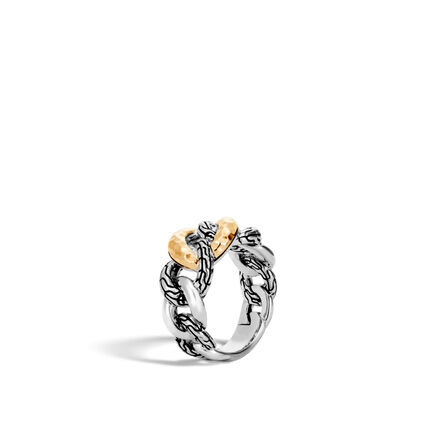 Classic Chain 11MM Band Ring, Silver and Hammered 18K Gold