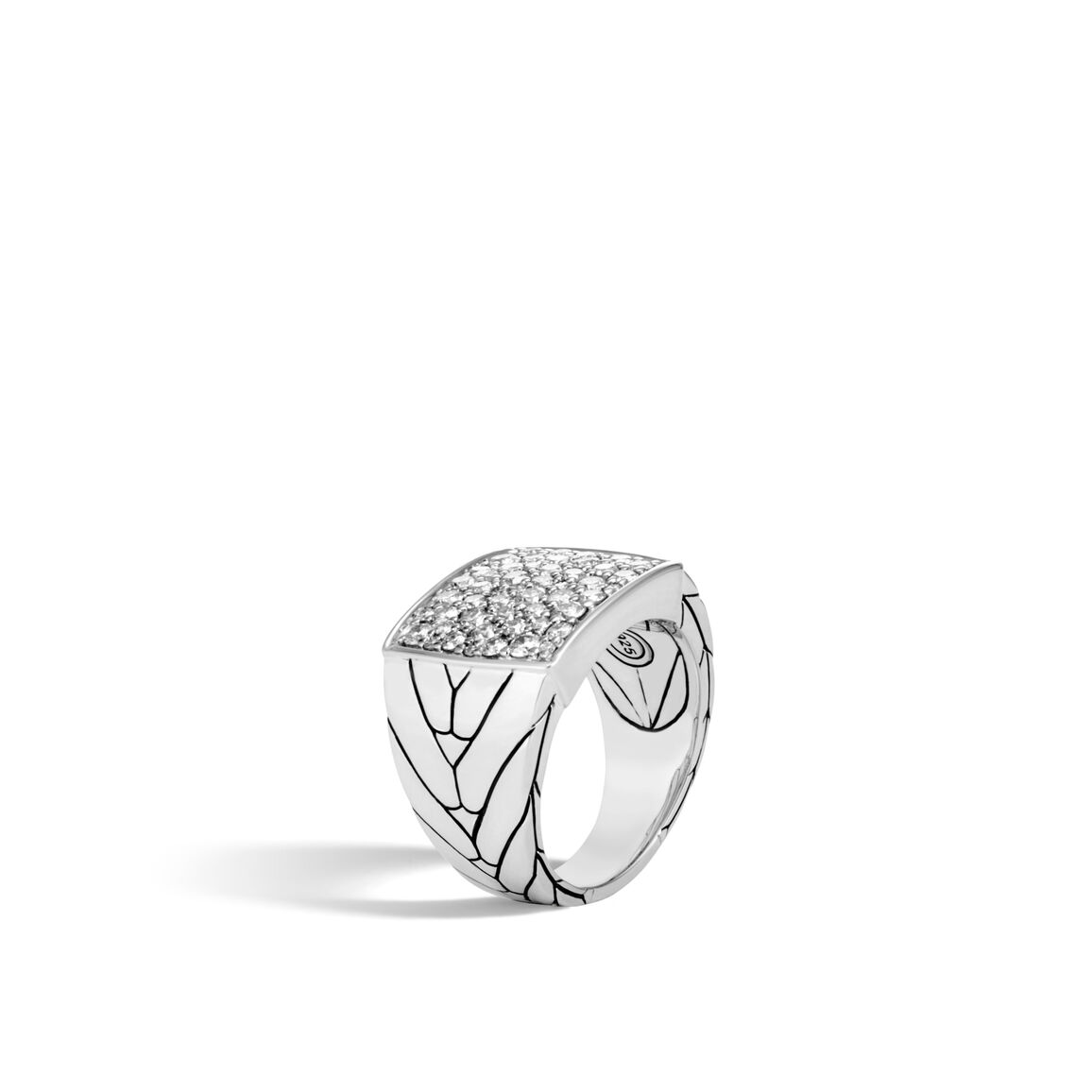 Modern Chain Signet Ring in Silver with Diamonds
