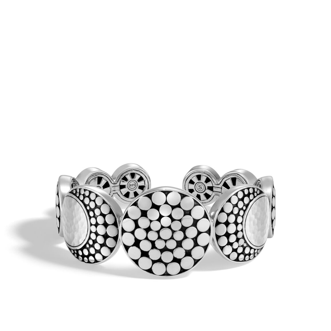 Dot Moon Phase Cuff in Hammered Silver