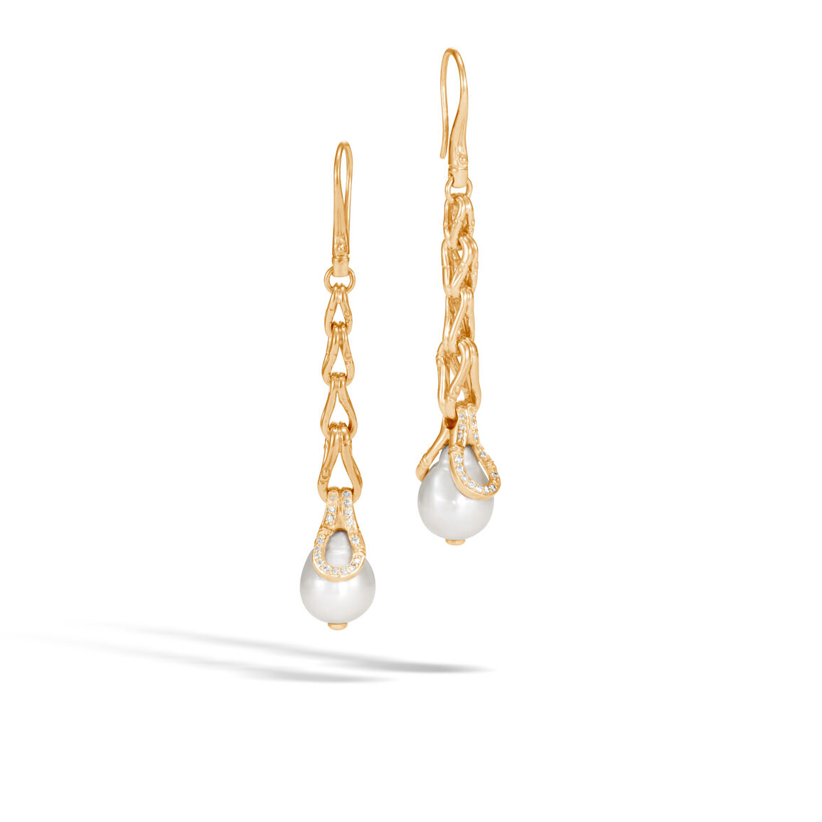 Bamboo Drop Earring in18K Gold with11MM Pearl, Dia