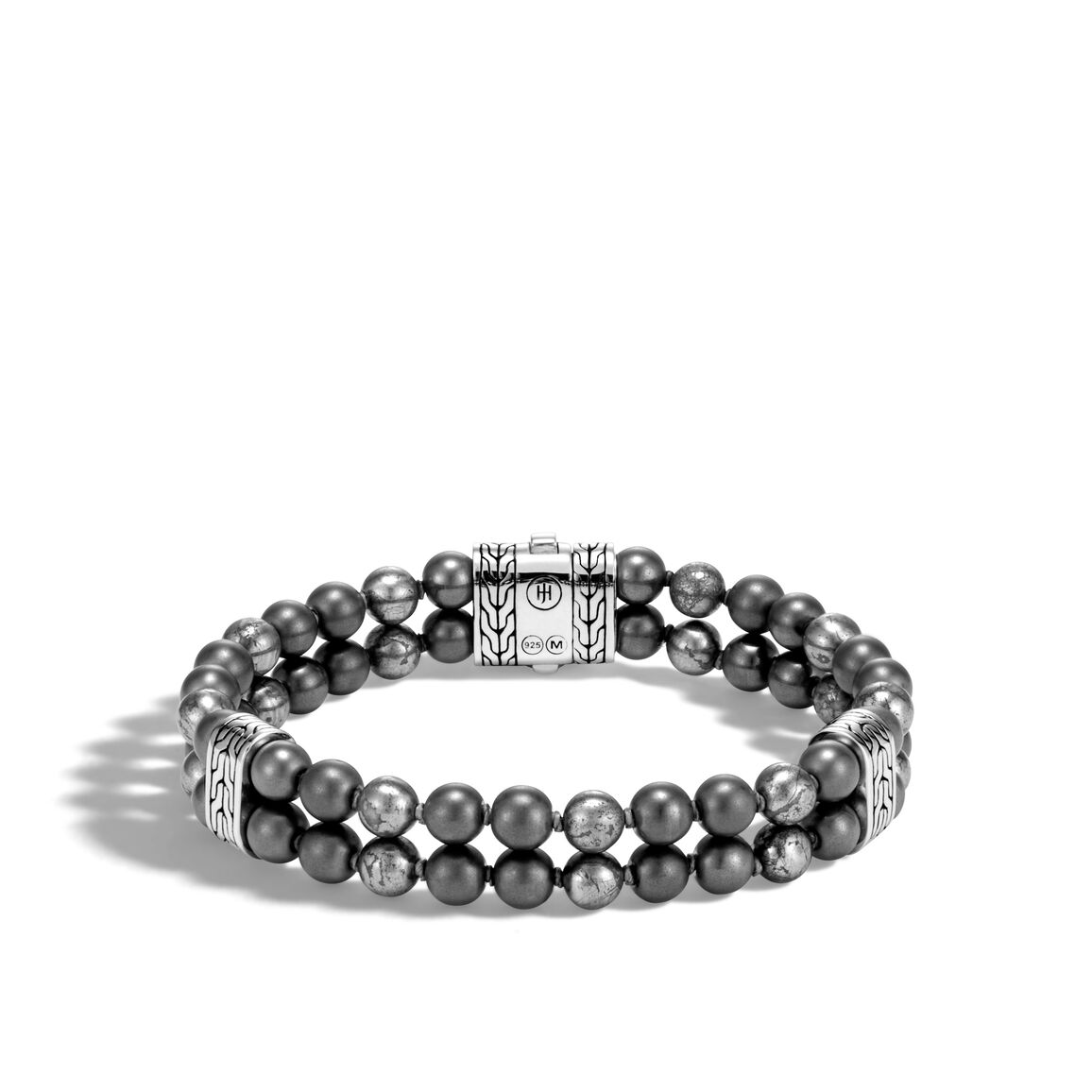 Chain Double Row Bead Bracelet, Silver with 6MM Gems