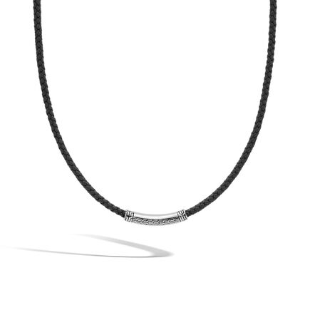 Classic Chain 4MM Station Necklace in Silver and Leather