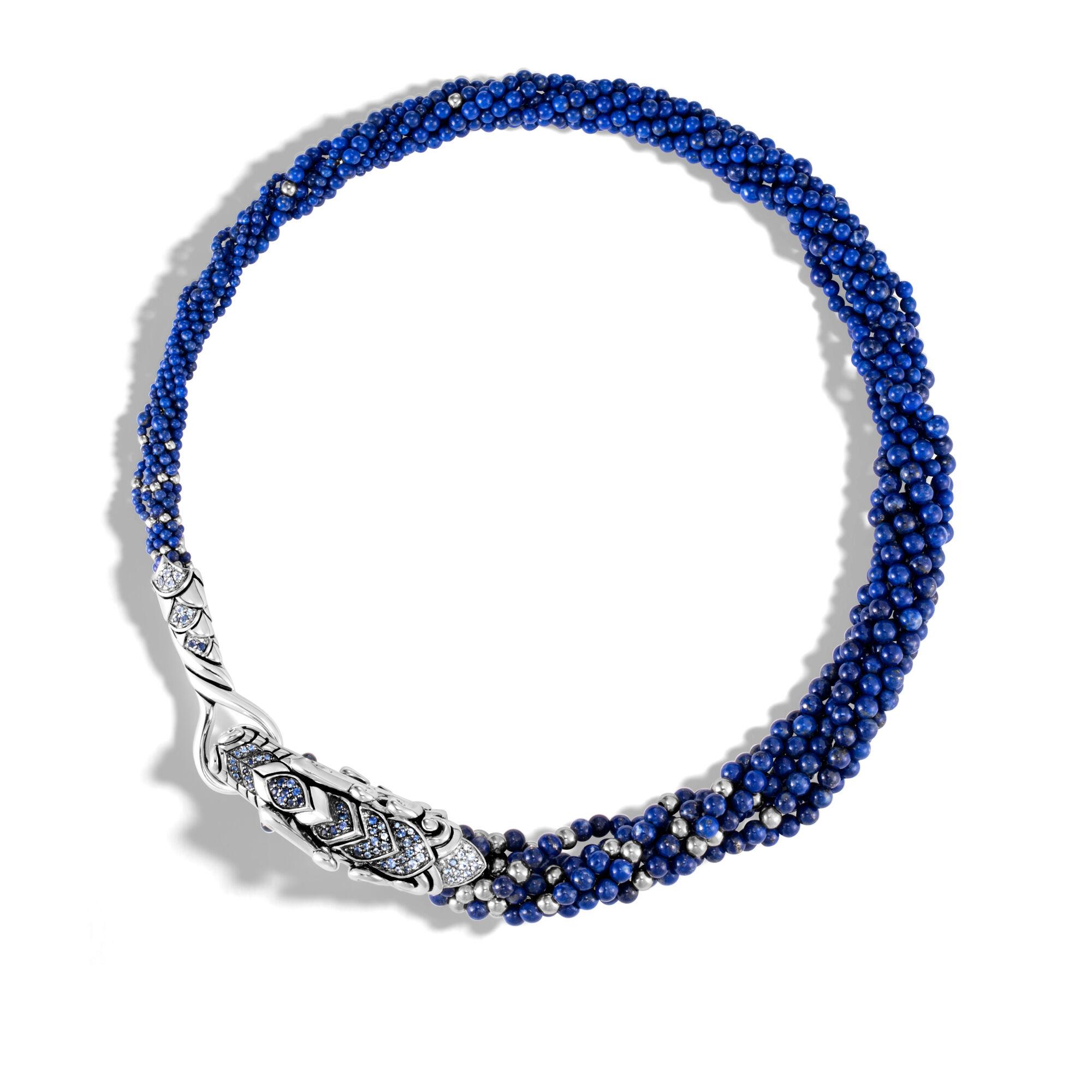 John Hardy Naga Multi Row Necklace With Lapis Lazuli, Blue Sapphire