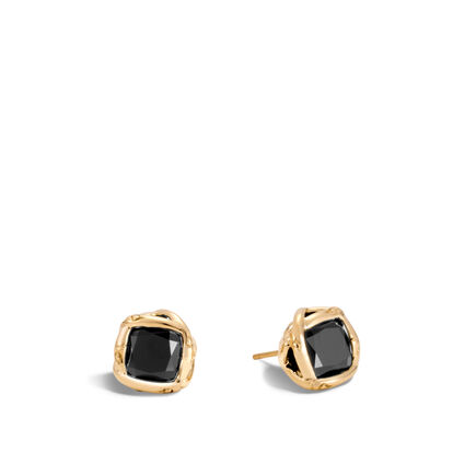 Bamboo Stud Earring in 18K Gold with Gemstone