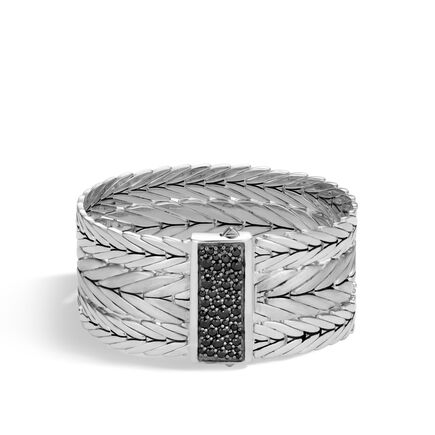 Modern Chain 27MM Multi Row Bracelet in Brushed Silver, Gems