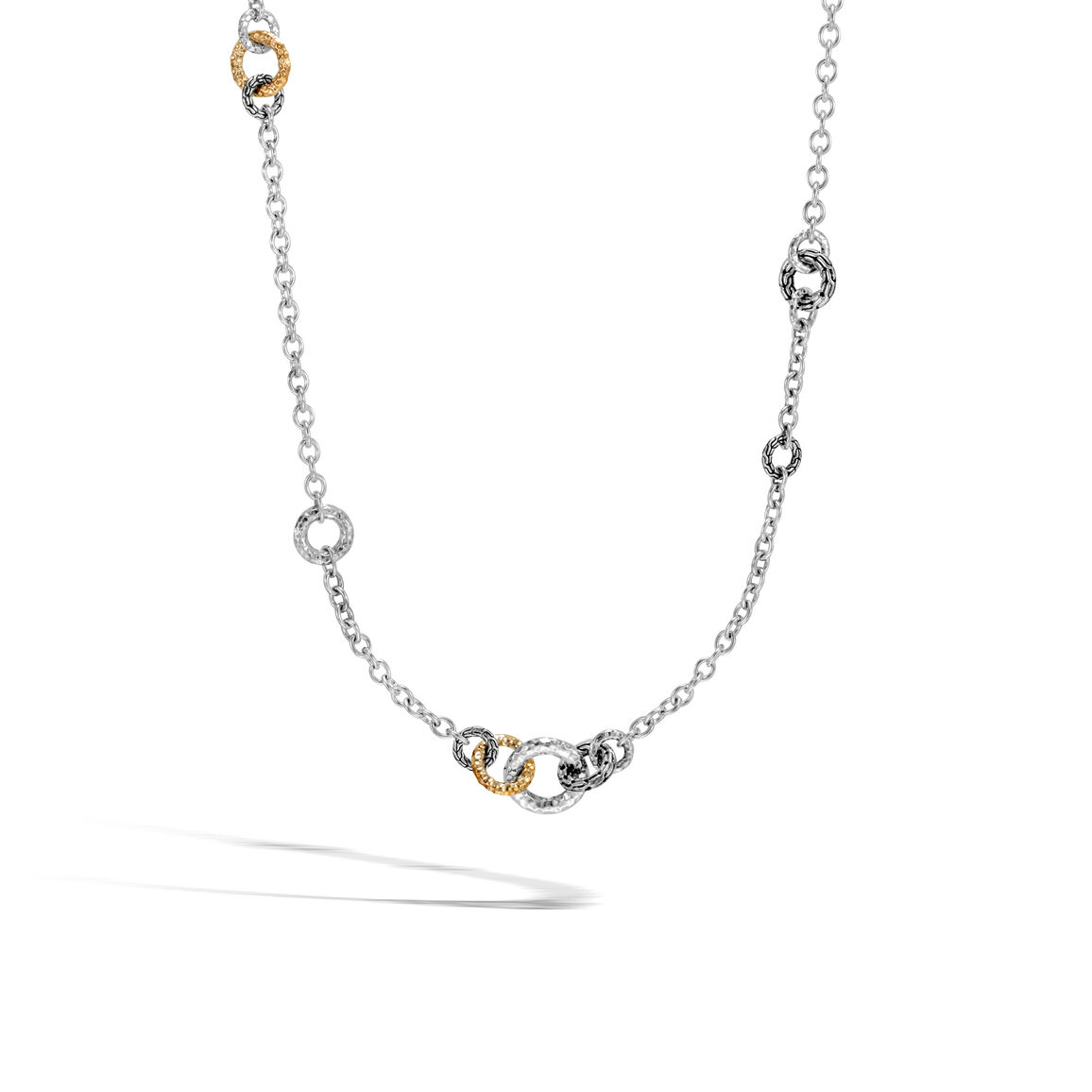 Classic Chain Link Sautoir Necklace, Silver, Hammered Gold