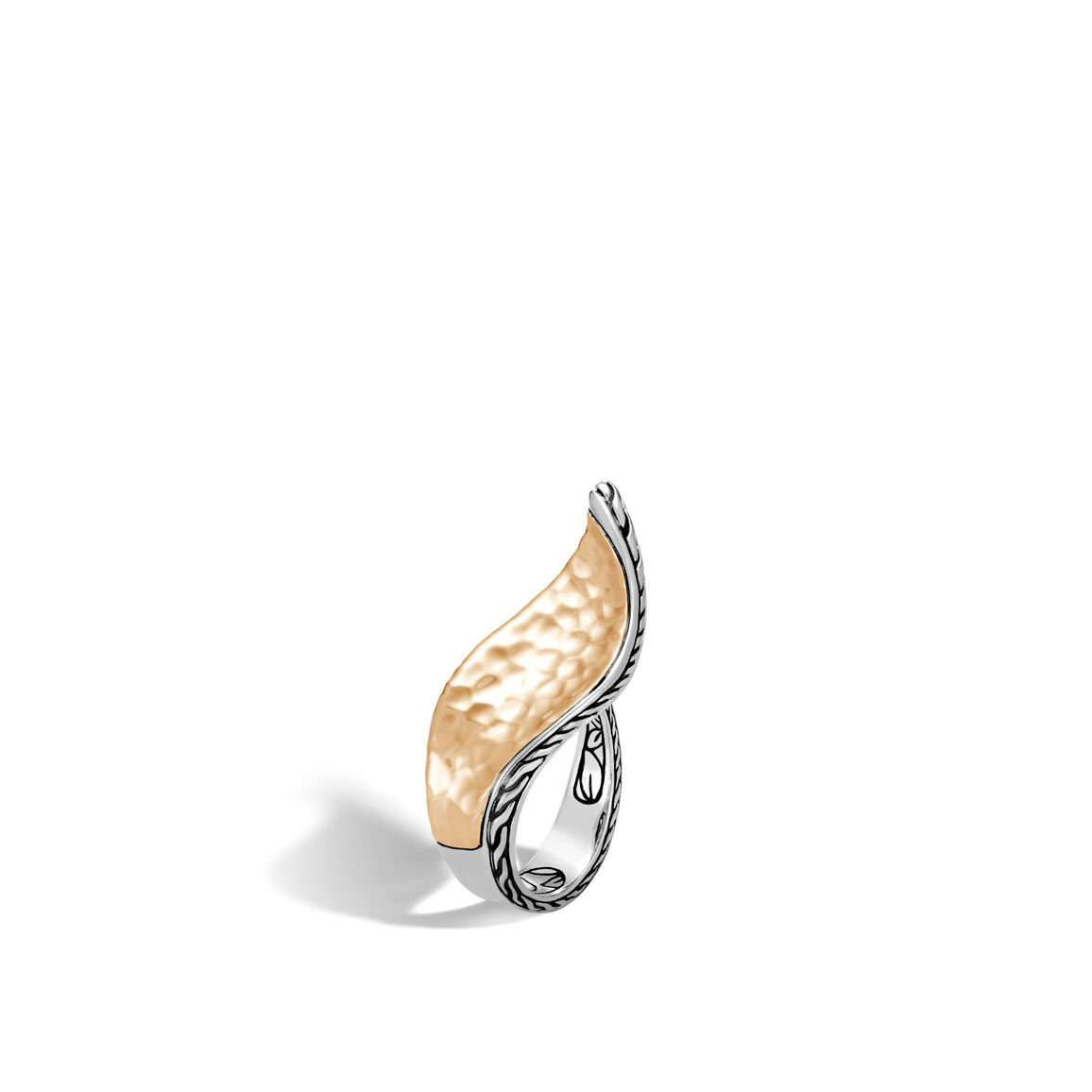 Classic Chain Wave Ring in Silver and Hammered 18K Gold