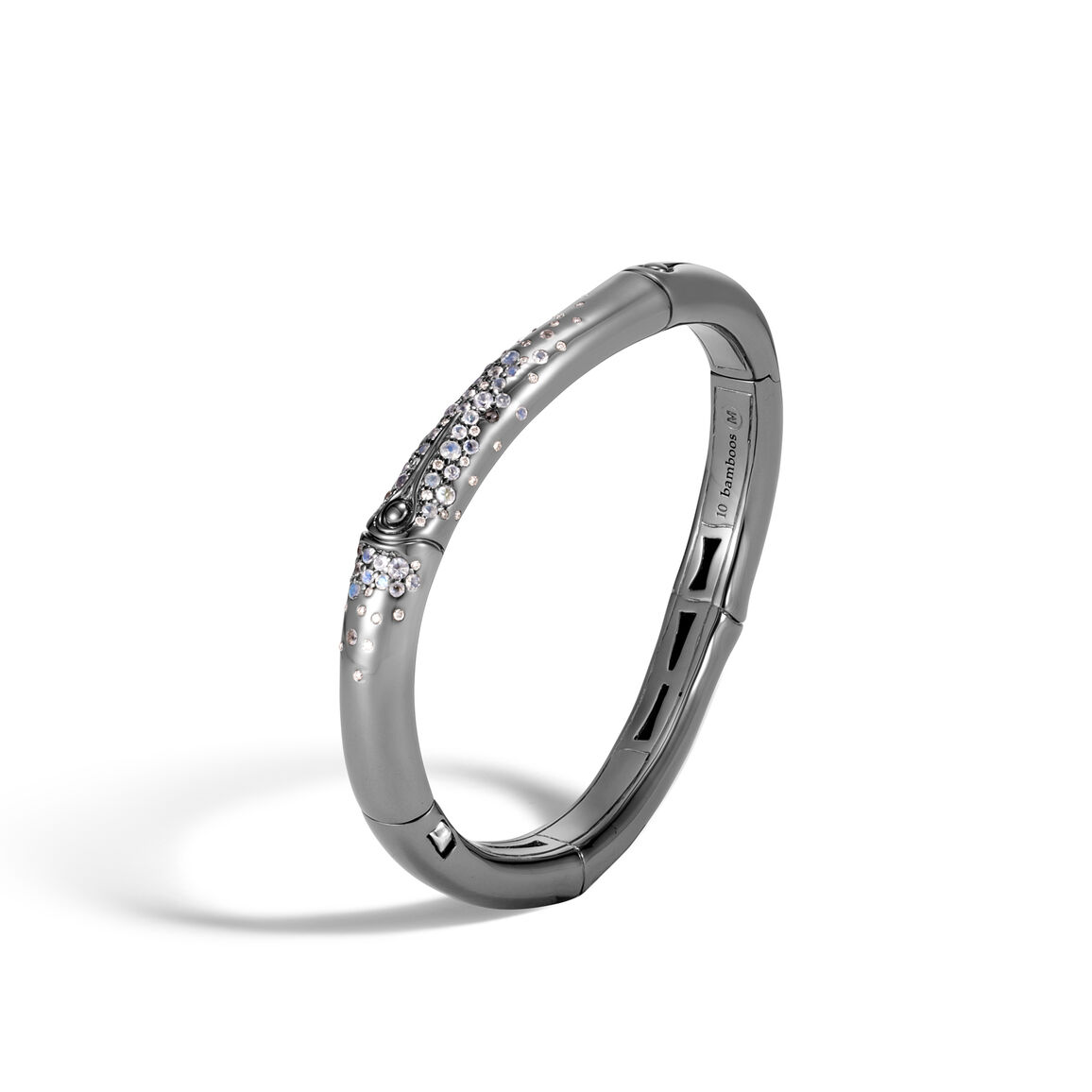 Bamboo Bangle in Blackened Silver with Gemstone and Diamonds