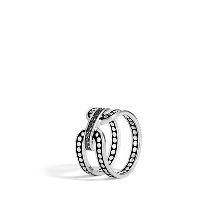 Dot 10.5MM Band Ring in Silver with Gemstone