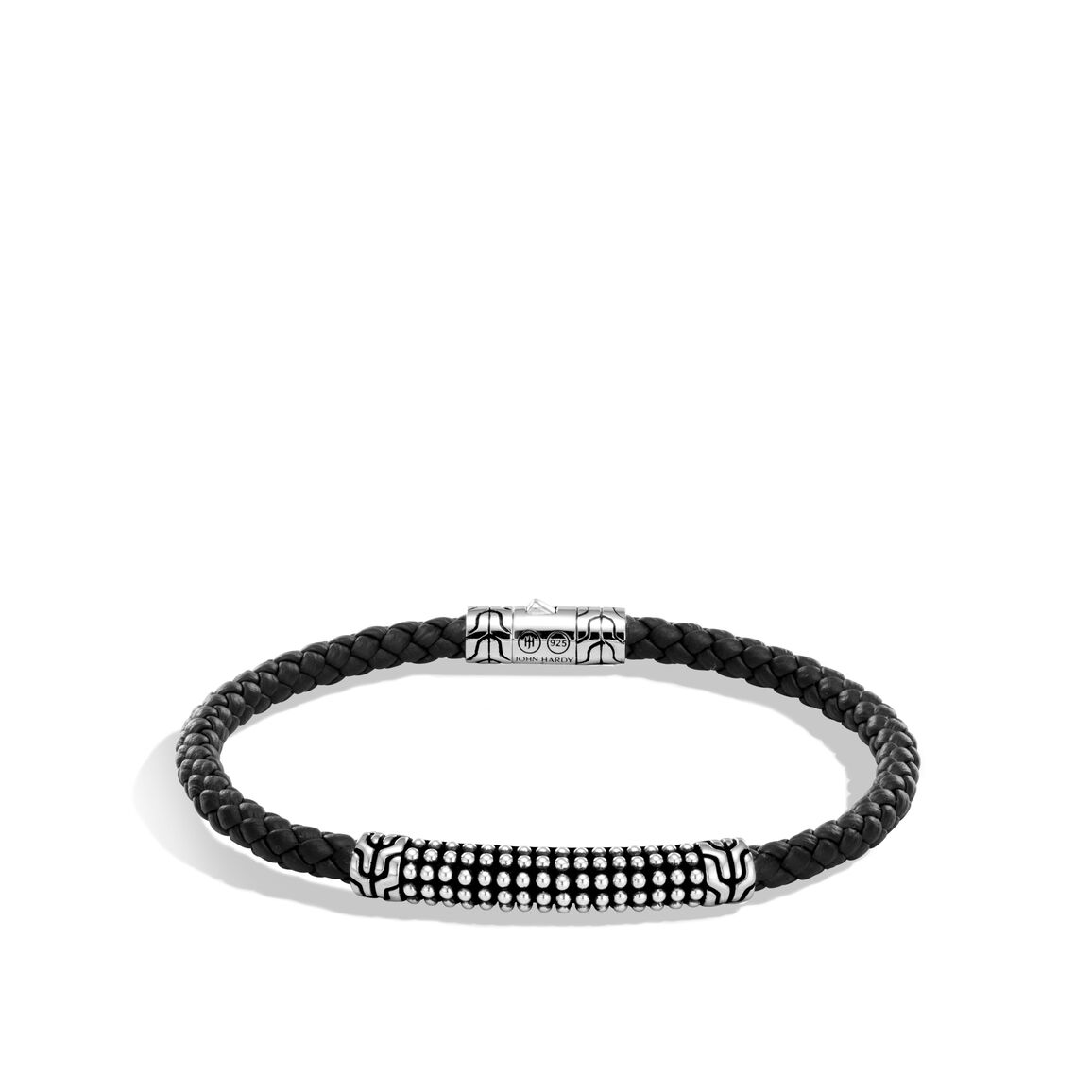Chain Jawan 4MM Station Bracelet in Silver, Leather