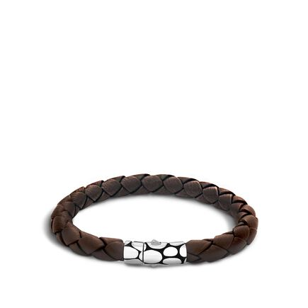 Kali 7MM Station Bracelet in Silver and Leather